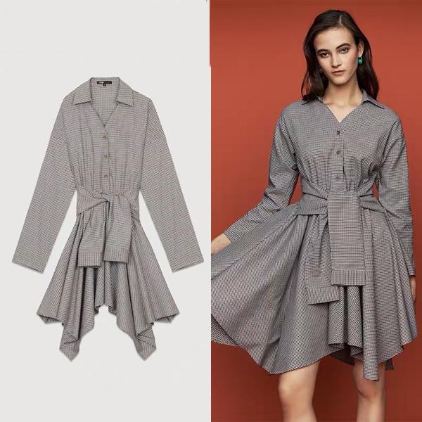 maje格纹V领不规则连衣裙 价格约1607元