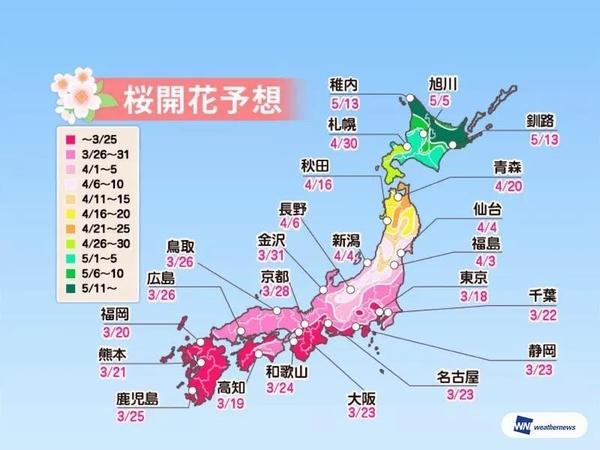 2019日本樱花开花预估时间