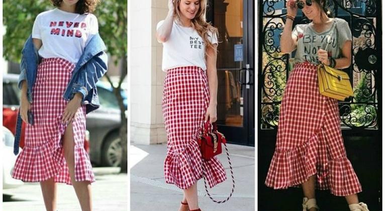 穿上红色格纹褶边裙,作整条街街拍最美的冠军
