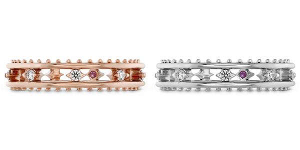 SLOANE PICOT FLOATING DIAMOND戒指 白K金/玫瑰金款式,钻石、粉红蓝宝石