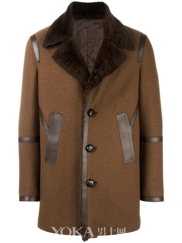 Neil Barrett小羊皮与羊毛混纺滚边翻领外套,$1,412